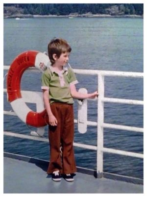Here's me enjoying summer long, long ago on a ferry trip to Victoria - photo by my dad.