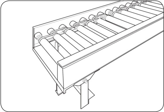 Drawing of a roller conveyor