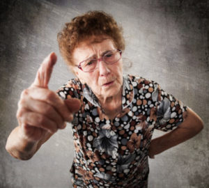 Photo of an older lady wagging her finger