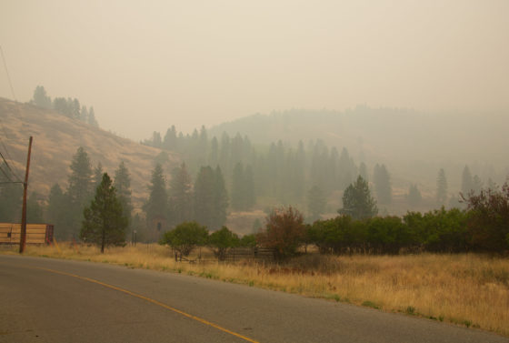 Photo of rural area with thick orange-brown haze from wildfires