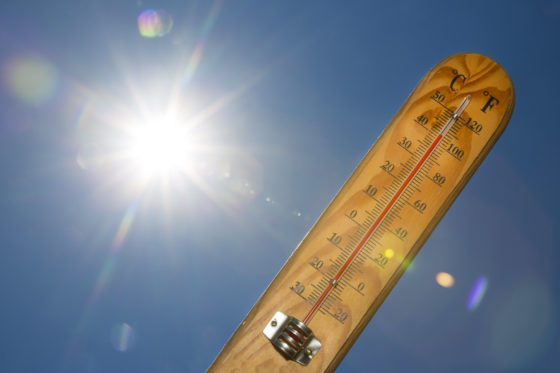 Photo of blinding sun and a thermometer showing it is hot