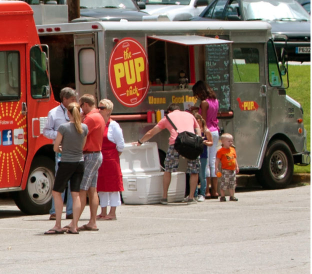 Photo of people buying food from food trucks