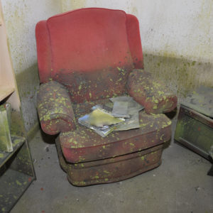 Photo of flood damage to armchair and bookshelf