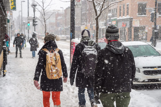 Photo of pedestrians walking in snow on Mont Royal Avenue, Montreal