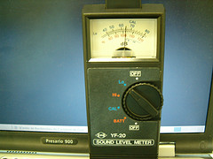 Analogue sound meter. Photo credit: jepoirrier on Flickr