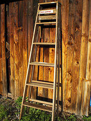 Photo of wooden stepladder leaning against a fence