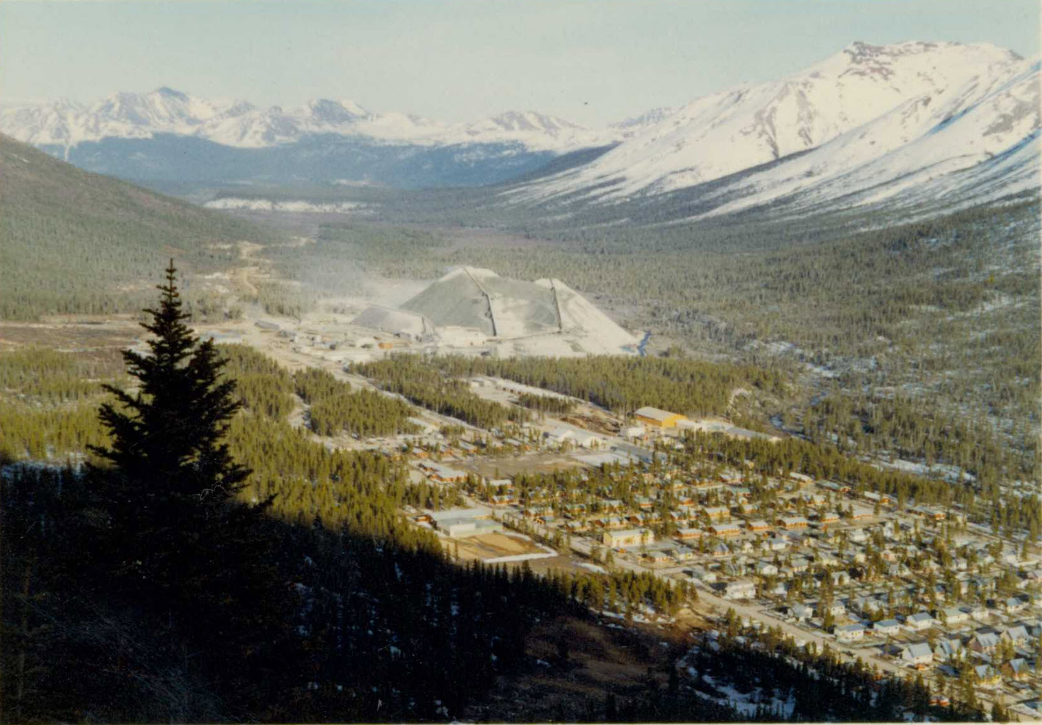 Historical photo of the town and mine of Cassiar, B.C.