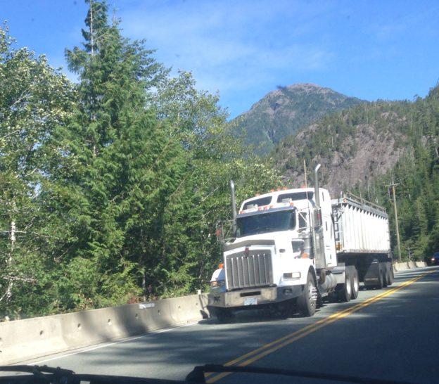 Photo of large truck descending narrow B.C. highway