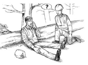 Illustration from WorkSafeBC Hazard Alert 99-11: Ensure transportation of injured workers