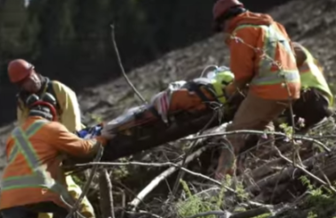 Image from WorkSafeBC video: Every Minute Counts: Emergency Response Planning in Forestry