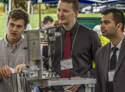 Pictured here are three of the five Camosun College students who made a cookie dough dispenser. Photo credit: Camosun AV department