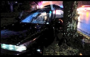 This is a recent pic from a Facebook friend of mine who crashed into a tree after hydroplaning on a rainy, oily road. He gave me permission to use it for this post, from his bed in hospital where he was recovering from broken ribs and a collapsed lung. The car was a write-off.