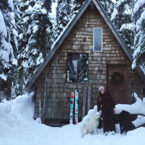 Ski patroller / paramedic Megan Frawley with cute dogs.