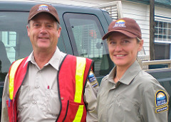Recreation officer Doug Harris and recreation technician Michelle Wiebe in 100 Mile House, B.C., August 2010