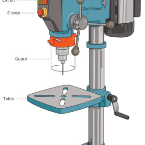 Drawing of a drill press with labelled parts