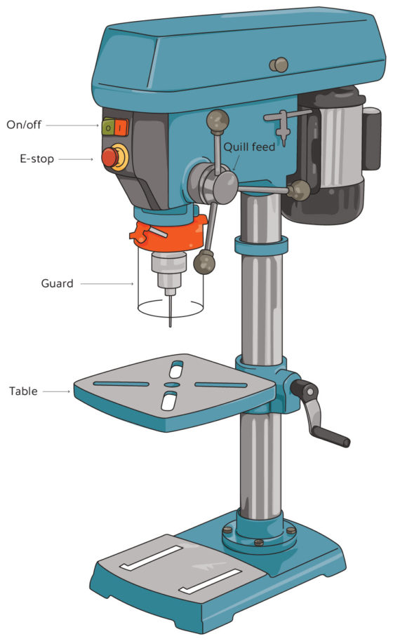 Drawing of a drill press with key parts labelled