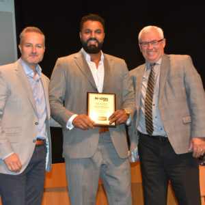3 people with a Safety Champion award
