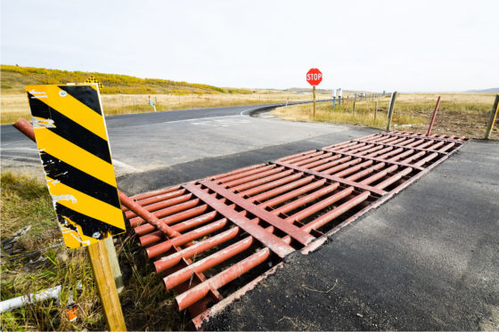 Photo shwoing a cattle guard across a two-lane asphalt roadway