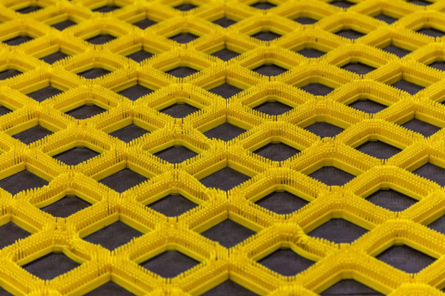 Photo of yellow nonslip rubber safety matting