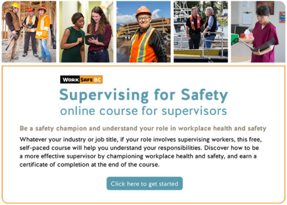 Photo of front page of Supervising for Safety online course