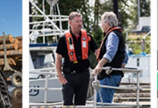 Photo of worker and supervisor in a marine setting