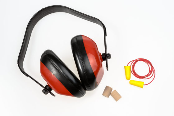 Photo of hearing protection including ear muffs and earplugs