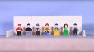 Photo from safety videos shows lego figures as workers standing in a row