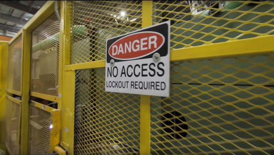 Photo of no access sign on gate to protect workers